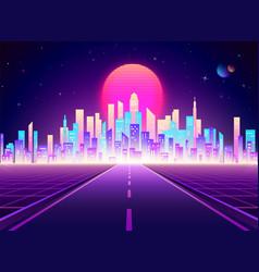 neon retro city landscape highway to cyberpunk vector image