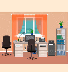 office interior workspace with furniture and vector image