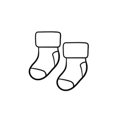 pair of socks for newborn baby hand drawn outline vector image