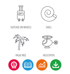 Palm tree shell and helicopter icons vector