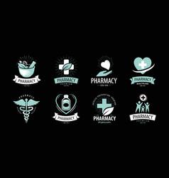 Pharmacy drugstore logo or label medicine vector