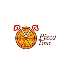 pizza logo that looks like an alarm clock vector image