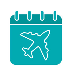 plane departure date glyph color icon vector image