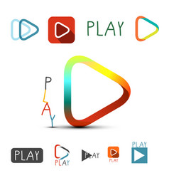 play icons set media buttons collection for vector image
