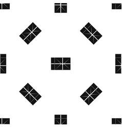 postal parcel pattern seamless black vector image