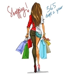 Pretty fashionable woman with shopping bags vector image