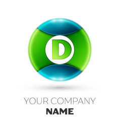 realistic letter d logo symbol in colorful circle vector image