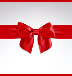 Red bow of satin ribbon vector