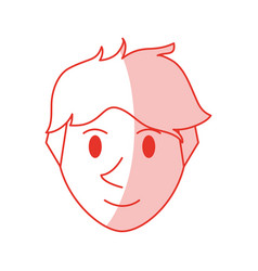 Red shading silhouette cartoon front view face guy vector
