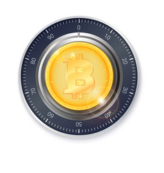 safe lock with crypto currency coin of bitcoin vector image