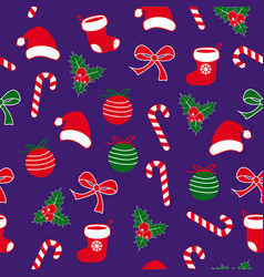 seamless christmas pattern with lolipop candy vector image