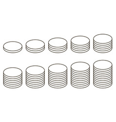 set icon stack coins icon stack coins vector image