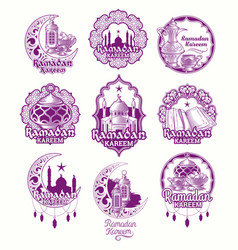 set purple sign for ramadan vector image