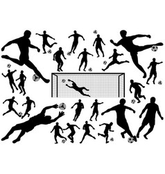 set soccer players silhouettes vector image