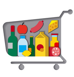 shopping cart with food vector image
