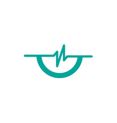 simple pulse with half circle logo template vector image