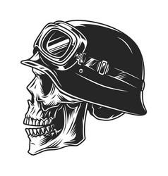 Skull in biker helmet and goggles vector