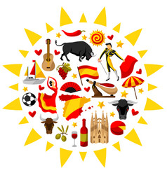 Spain background in shape of sun spanish vector
