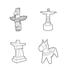 statue icon set outline style vector image