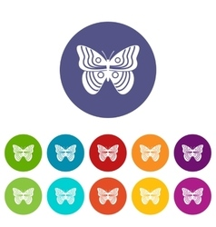 Stripped butterfly set icons vector