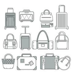 suitcase or handbag bag or valise traveling vector image
