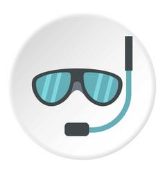 Swimming mask icon circle vector