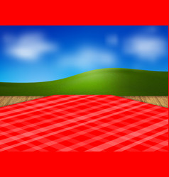 template for your design red checkered tablecloth vector image