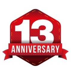 Thirteen year anniversary badge with red ribbon vector
