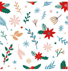 traditional xmas plants flat seamless vector image