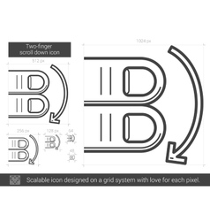 Two-finger scroll down line icon vector image