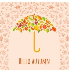 Umbrella from fall leaves vector image