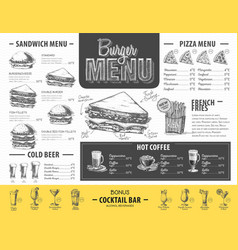 Vintage burger menu design fast food menu vector