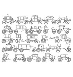 Vintage carriage outline line set icon vector