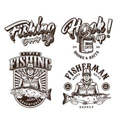 Vintage monochrome fishing emblems vector