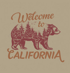 Welcome to california t-shirt label vector