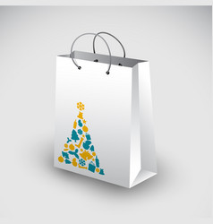 White shopping bag with christmas motive vector