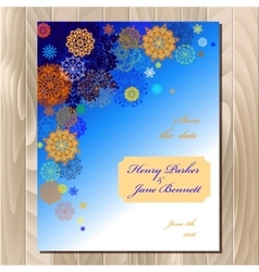 Winter snowflakes design wedding card vector