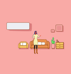 woman standing living room modern apartment vector image
