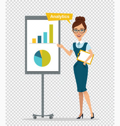 Woman with clipboard standing near flipchart vector