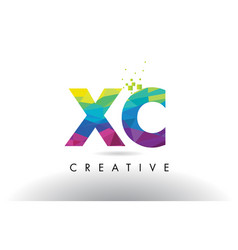 xc x c colorful letter origami triangles design vector image