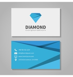 Diamond corporation business card template vector image