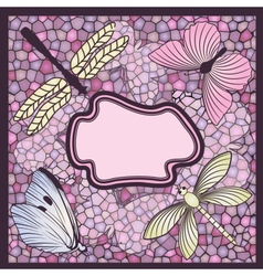Mosaic card with butterflies and dragonflies vector image vector image