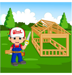 professional carpenter cartoon vector image vector image