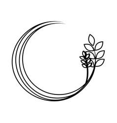 silhouette medium circular border with branch and vector image
