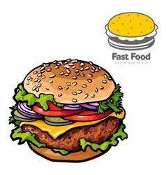 Tasty burger with a logo vector