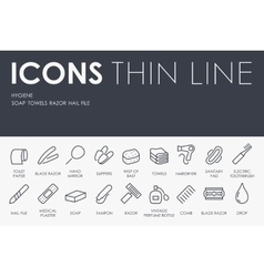 Hygiene thin line icons vector