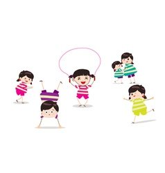 Little children doing skipping against white vector image