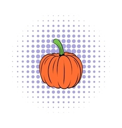 Pumpkin icon in comics style vector image vector image