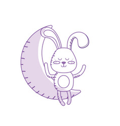 Silhouette teddy rabbit seated in the moon vector