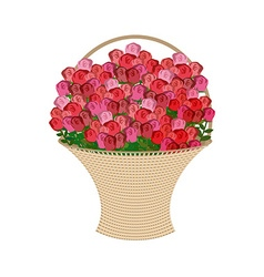 Basket of flowers on a white background Large vector image